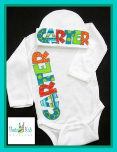 Personalized baby boy onesie and beanie set by FiestaKidsBoutique
