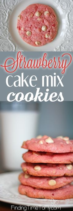 These cookies use only 4 ingredients and cook up soft and chewy. A quick, simple dessert for a week night or special occasion. Perfect for a Valentine's Day dessert.