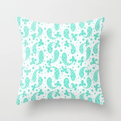 Bubble Fish in Mint Throw Pillow