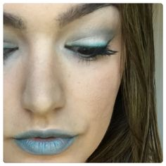 Frosty Look using 'Heavenly' & 'Sexy' Mineral Eye pigments on both eyes and lips. (products form Younique) You can apply wet on eyes to pop pigment or in conjunction with rose water!