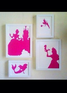 1. Google any silhouette 2. Print on colored paper 3. Cut them out 4. Place in frame. (so cute for girls room)