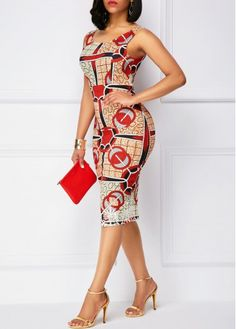 Printed Zipper Back Sleeveless Sheath Dress | Rosewe.com - USD $31.33