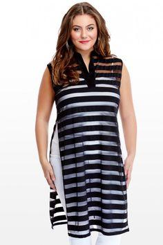 Plus Size Mystic Shadow Stripe Maxi Top   Fashion To Figure
