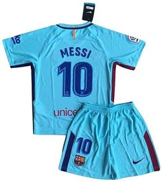 5e733e85359 Amazon.com  MFooty Messi  10 FC Barcelona 2017 2018 Away Jersey and Shorts  for Kids Youths (7-8 Years Old)  Clothing