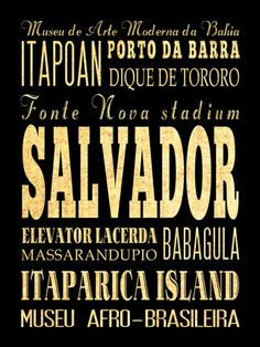 Salvador, Brazil, Typography Art Poster / Bus  / Transit / Subway Roll Art 18X24 - Salvador's Attractions Wall Art Decoration -  LHA-392