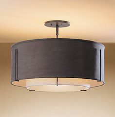 "126503-07-AABC Hubbardton Forge Lightning - Dining Room Ceiling Fixtures: Artful Designs for Ceiling Light BASE ITEM NUMBER: 126503 DESCRIPTION: Semi-flush: Exos medium double with shade options. CAN IT BE USED ON A SLOPED CEILING? Yes, this product is slope ceiling adaptable to 45 degrees. DIMENSIONS: 15.3"" h. x 22.9"" d. SOCKET TYPE: medium BULB: (3) A-19, 100 watt max. Available as Fluorescent"