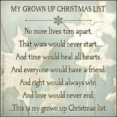 My grown up Christmas wish