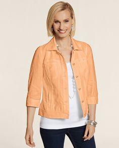 Chico's Women's Linen Jeans Jacket