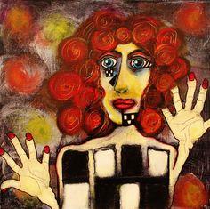 """SOLD: She's Got a Ticket to Her Own Show by Penelope Przekop   $300   12""""w 12""""h   Original Art   https://www.vangoart.co/penelopeprzekop/she-s-got-a-ticket-to-her-own-show @VangoArt"""