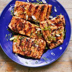 Grilled Teriyaki-Glazed Salmon | http://www.rachaelraymag.com/recipe/grilled-teriyaki-glazed-salmon/