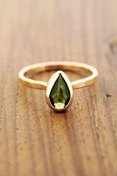 Melissa Joy Manning: Faceted moldavite ring - 14K Gold