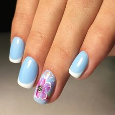 Beautiful French nails, Blue nail art, Bright french manicure 2017, March nails, Modern nails, Nail polish for blue dress, Original French manicure, Ring finger nails
