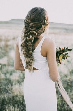 long braided wedding hairstyle via Hair and Makeup by Steph - Deer Pearl Flowers / http://www.deerpearlflowers.com/wedding-hairstyle-inspiration/long-braided-wedding-hairstyle-via-hair-and-makeup-by-steph/