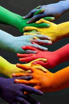"""Rainbow hands"" Stating that everyone is different."