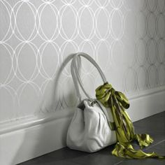 Metallic Wallpaper Modern   We think it will be awesome over our new white wainscoting and a black ...