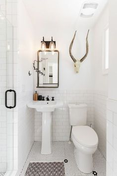 love the cow skull in the bathroom