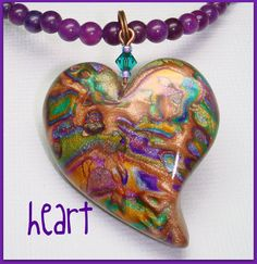 GORGEOUS!!!!        Multicolor Heart Pendant Necklace Mica Shift by BeadazzleMe