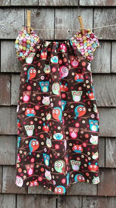 Peasant Dress Owl Brown 12m 2T 3T 4T 5T by TheChickyHouse on Etsy, $25.00