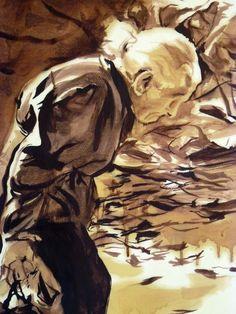"Andrea Di Marco ""Anziana in salita"", carta"