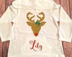 Reindeer Monogram Hoodie, Long sleeved hooded Personalized shirt, Holiday Hoodie,  Women's Hoodie,Children's Hoodie, Christmas hoodie