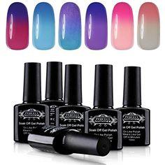 Soak Off UV LED Gel Nail Polish 10ml, Mood Changing, Chameleon Temperature Colors Changes Thermal Lacquers, Pack of 6 -Set  #NailPolish