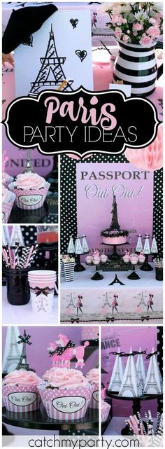 this Paris party with Eiffel towers and pink poodles! See more party ideas at !Love this Paris party with Eiffel towers and pink poodles! See more party ideas at ! Paris Themed Birthday Party, 13th Birthday Parties, Birthday Party Themes, Spa Birthday, 10th Birthday, Birthday Ideas, Paris Sweet 16, Parisian Party, Quinceanera Party