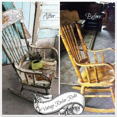 Spent most of yesterday finishing the Vintage Rocking Chair . It turned out really cute~! Almost too cute for a porch. Painted Rocking Chairs, Rocking Chair Makeover, Vintage Rocking Chair, Diy Furniture Projects, Repurposed Furniture, Fun Projects, Fleas, Porch, Heart
