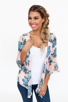 Blush/Blue Floral Ruffle Sleeve Kimono - Dottie Couture Boutique