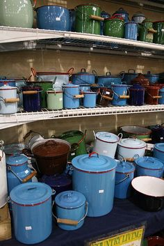 Vintage enamelware  #collection #display