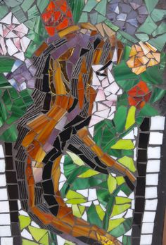 Vintage Advertisement Stained Glass mosaic Hair Lady by MyUsedYourNew on Etsy