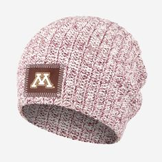 This 100% cotton beanie is knit in natural and burgundy yarn colors and  features a f6b19bddc