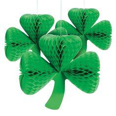 St. Patrick's Day Clover Tissue Lanterns - OrientalTrading.com