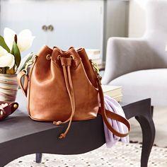 Lyndale Drawstring Bucket Bag | Saddle Tan Leather | J.W. Hulme Co.