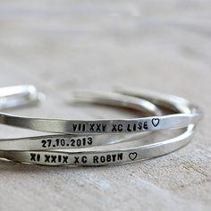Personalized Silver Cuffs Brass or Silver Custom Bracelets - praxis jewelry