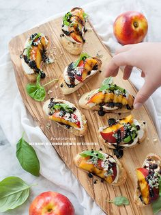 Nectarine and Wisconsin Burrata Bite Crostini / foodiecrush.com