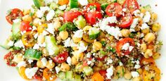 Quinoa, Chickpea, Cucumber and Feta Salad (maybe replace the parsley with avocado and the quinoa with rice?)
