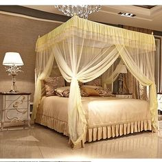Three-door Style Square Anti Mosquito Net Bedding Curtain 4 Color Choices is hot sale at NewChic, Buy personal mosquio tent now. Canopy Bed Curtains, Canopy Bed Frame, Bohemian Bedroom Decor, Home Decor Bedroom, Bedroom Ideas, Mosquito Net, Anti Mosquito, Mosquito Killer, Lace Bedding