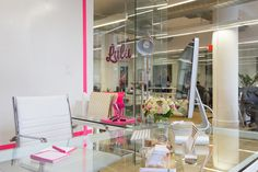 """The founder of the """"first-ever app for girls,"""" Lulu, wanted a dramatic, colorful office that spoke to her personality and as soon as you enter the space."""