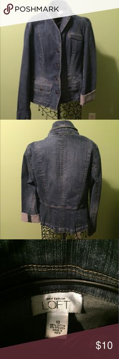 jean jacket jean jacket, could roll sleeves, smoke free env Ann Taylor Jackets & Coats Jean Jackets