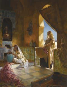 RUDOLF ERNST AUSTRIAN 1854-1932 THE PERFUME MAKERS signed R. Ernst. lower left oil on panel 92 by 72cm., 36¼ by 28¼in.