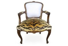 18th-C. French Armchair w/ Scalamandré