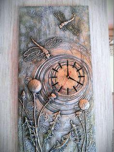 """Clock-relief """"Dragonflies"""" – buy or order … – Clock World Inspiration Artistique, Glue Art, Handmade Clocks, Plaster Art, Clock Art, Mural Art, Mixed Media Canvas, Texture Art, Modern Wall Art"""