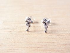 Petite Seahorse Post Stud Earrings.92.5 % Oxidized Sterling Silver.Cartilage/Nose/ Earrings.Ocean Inspired design.Gift under 10 by BelovedBijoux on Etsy