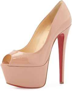 http://www.shopstyle.com/action/loadRetailerProductPage?id=477176399&pid=uid8836-30730094-40 Christian Louboutin Jamie Patent Red Sole Platform Pump, Nude