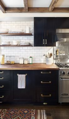 Love 3 things: butcher block counter tops, white subway tile, and floating shelves. Butcher block cabinets are amazing.