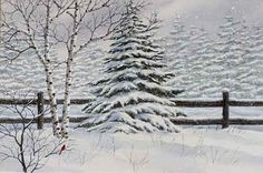 A larger image of Winter Trees, an original watercolor by Kathy Glasnap of Door County, Wisconsin