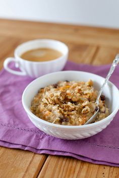 Carrot Cake Oatmeal (E) *Use unsweetened almond milk instead of milk use Truvia toasted in a frying pan instead of brown sugar (or sub stevia). Omit butter-you can add a t. to your bowl if desired omit coconut. Reduce raisins to 1/4 c.