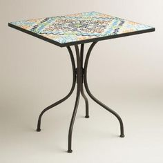 Ideal for small spaces, our compactly sized, exclusive bistro table brings a pop of color to your alfresco dining area. Paying homage to a centuries-old art form, each glass tile on the table's striking mosaic tabletop is placed by hand. Create a vibrant look on the balcony or in the garden when you pair it with our coordinating chairs.