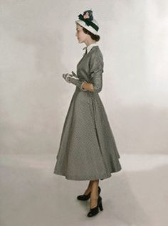 ~1940s Model wears a checked taffeta dress by Ben Barrack, and Betmar hat~ (Love the matching gloves!)