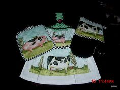 This is Beautiful colorful Bright Country Theme Set with Crochet Top Dishtowel with matching Oven mitt and Pot Holder,Thanks for looking:) Biggramma